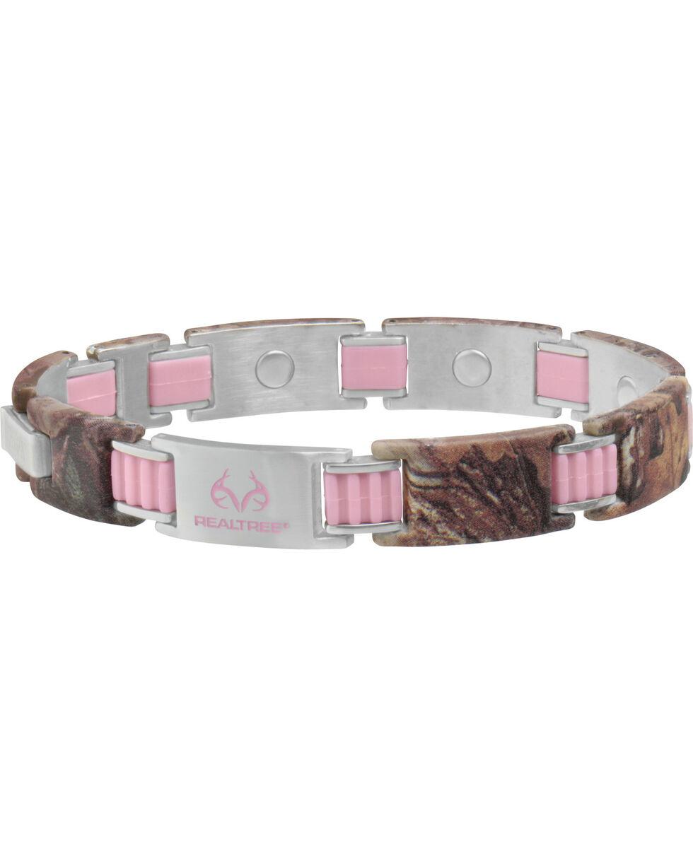 Sabona Women's REALTREE PinkLink Camo Magnetic Bracelet , Steel, hi-res