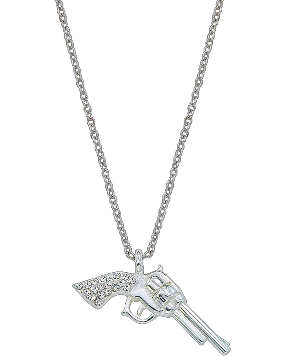 Montana Silversmiths Women's Silver Pistols With CZ Necklace, Silver, hi-res