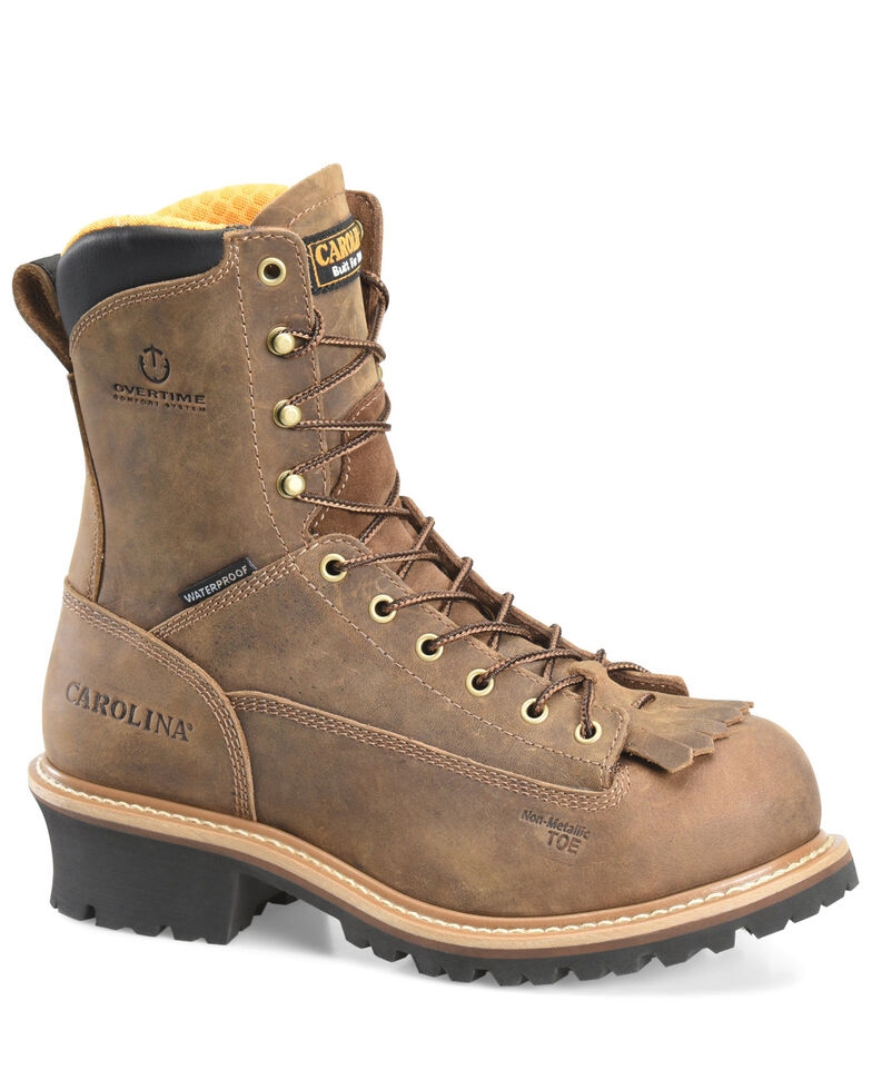Carolina Men's Driller Waterproof Logger Boots - Composite Toe, Brown, hi-res