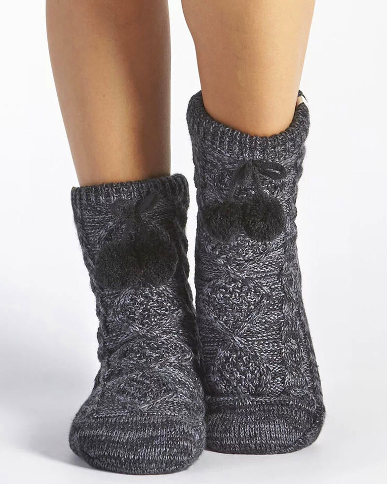 UGG® Women's Pom-Pom Knit Crew Socks, Grey, hi-res