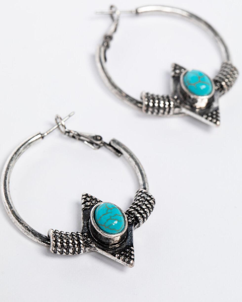 Shyanne Women's Isla Jane Aztec Turquoise Hoop Earrings, Silver, hi-res