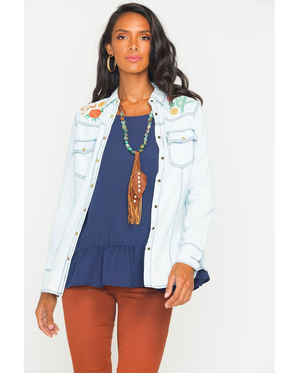 Ryan Michael Women's Bleach Indigo Embroidered Chambray Shirt, Indigo, hi-res