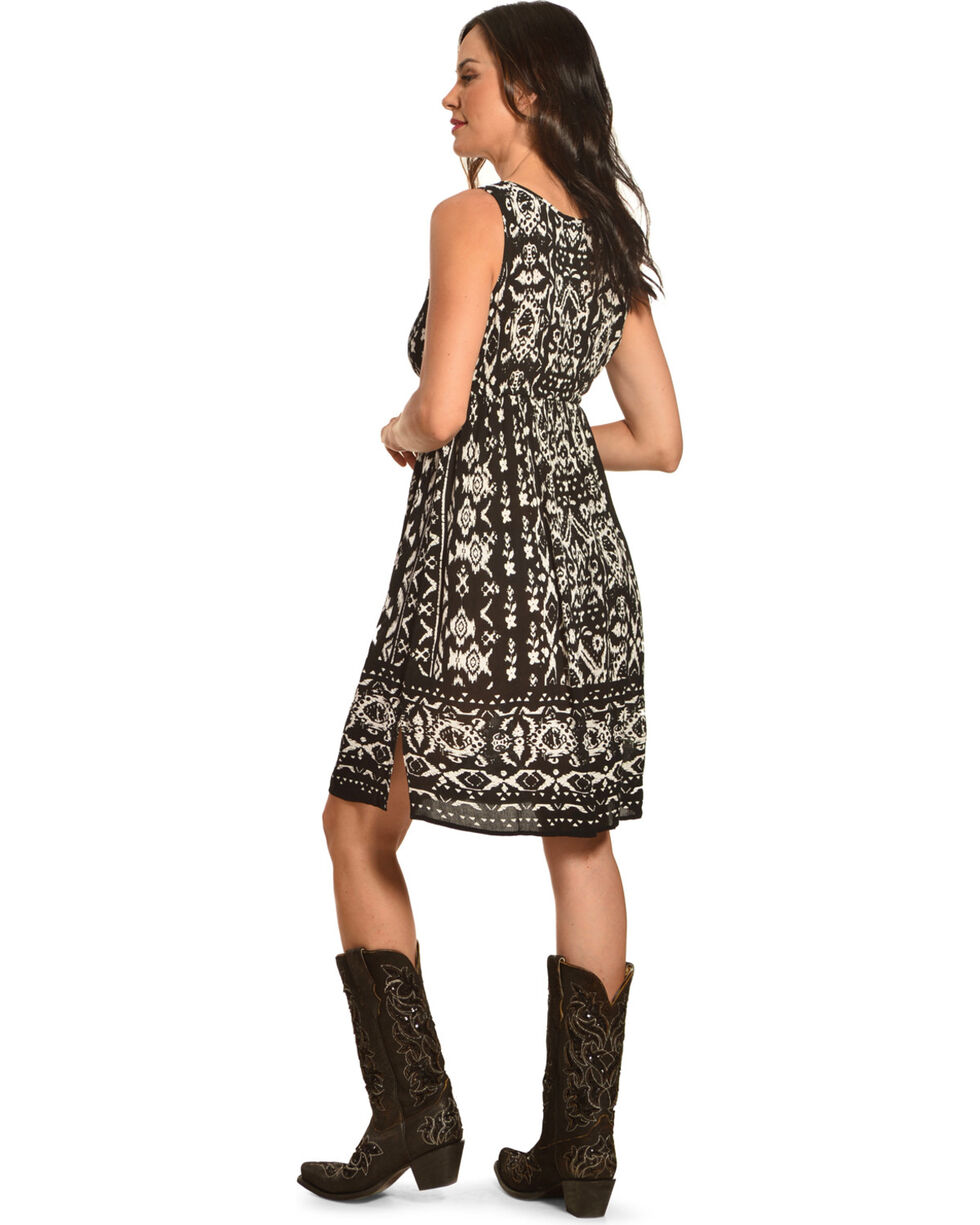 Bila Women's Black Printed Lace Trim Dress , Black, hi-res