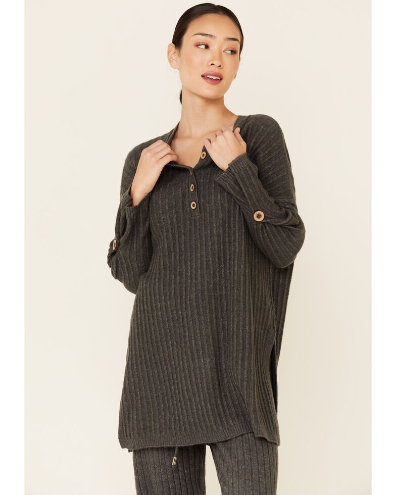 Free People Women's Around The Clock Henley Top , Charcoal, hi-res