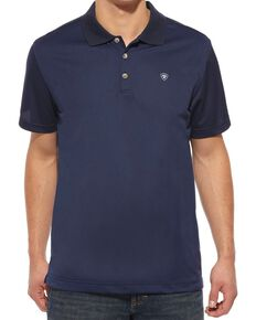Ariat Men's Tek Short Sleeve Polo, Navy, hi-res