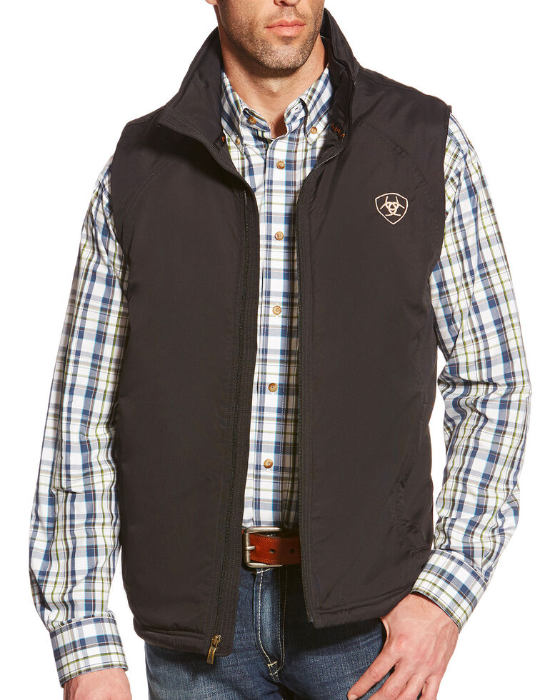 Ariat Men's Solid Team Vest, Black, hi-res