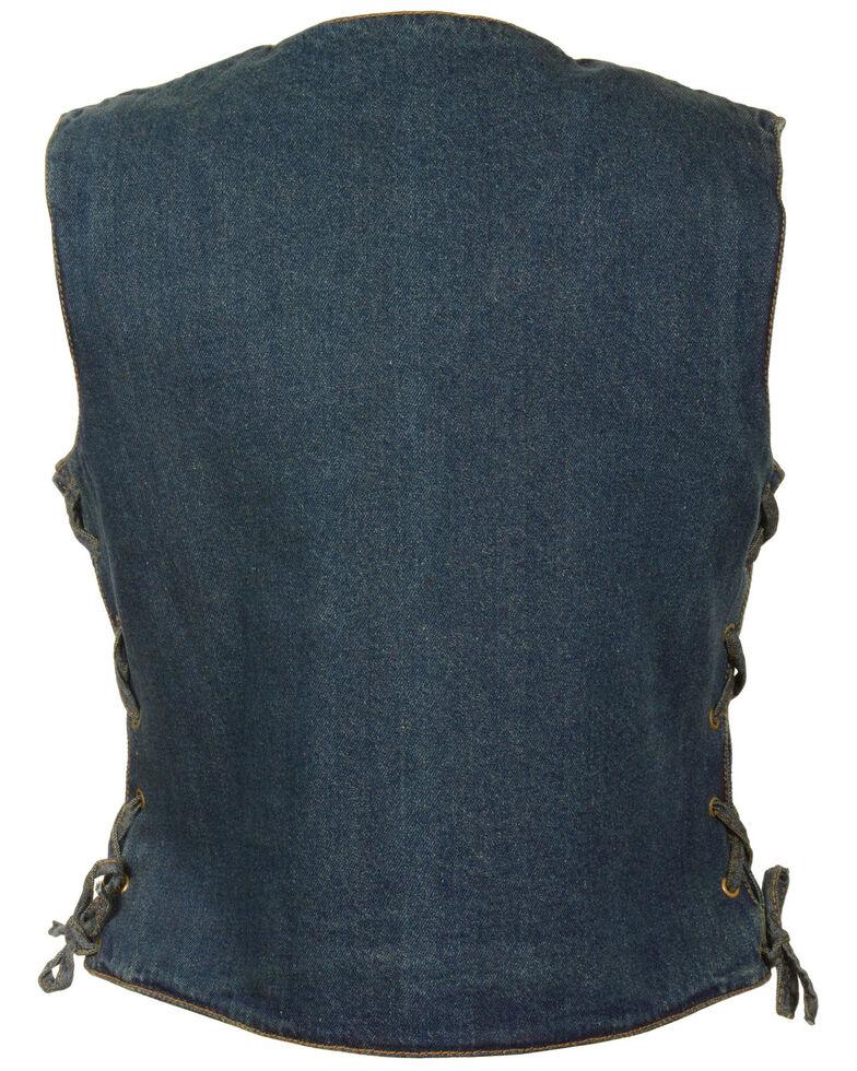 Milwaukee Leather Women's 6 Pocket Side Lace Denim Vest - 5X, Blue, hi-res