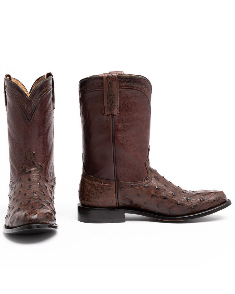Cody James Men's Sienna Full Quill Ostrich Western Boots - Alloy Toe, Brown, hi-res