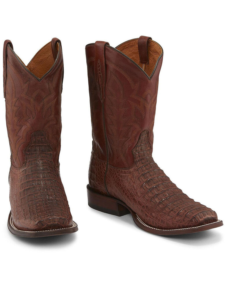 Tony Lama Men's Cognac Hornback Caiman Western Boots - Square Toe , Cognac, hi-res