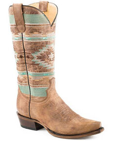 Roper Women's Waxy Brown Western Boots - Snip Toe, Brown, hi-res