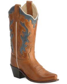 Old West Children's Leather Inlay Cowboy Boots - Snip Toe, Barnwood, hi-res