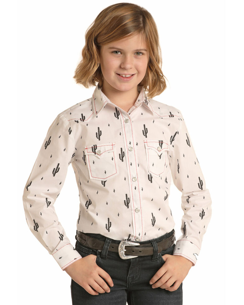 Panhandle Girls' White Cactus Print Long Sleeve Western Shirt , White, hi-res