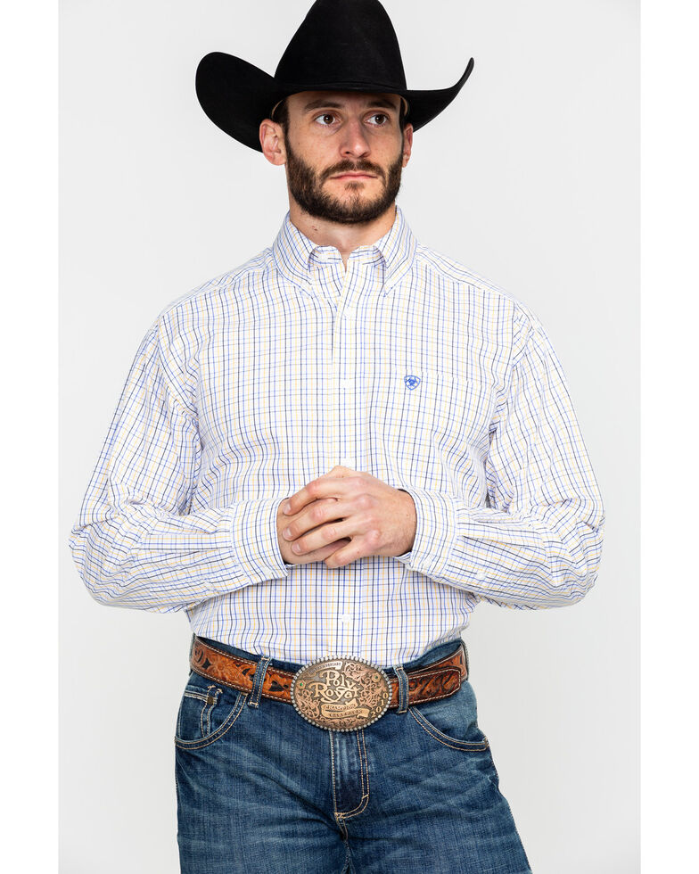 Ariat Men's Ludlow Plaid Long Sleeve Western Shirt , White, hi-res