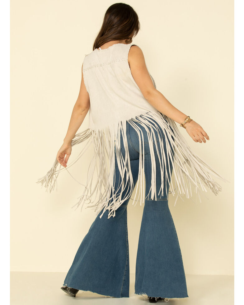 Fornia Women's Stone Faux Suede Long Fringe Vest, Stone, hi-res