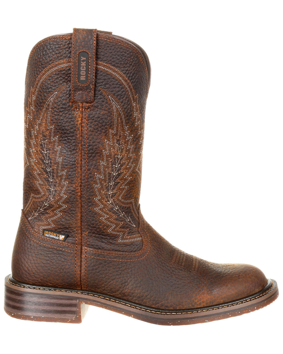 Rocky Men's Riverbend Waterproof Western Boots - Round Toe, Brown, hi-res