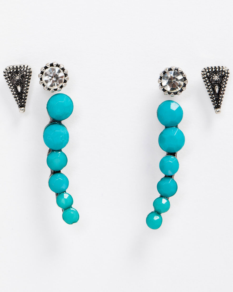 Idyllwind Women's Turquoise N' Stud Earring Set, Silver, hi-res