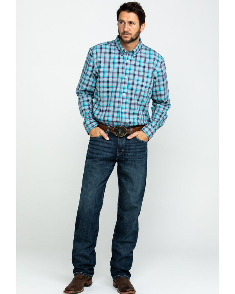 Cody James Core Men's Newberry Plaid Long Sleeve Western Shirt , Light Blue, hi-res