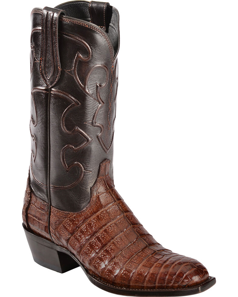 Lucchese Men's Charles Square Toe Crocodile Western Boots, Sienna, hi-res