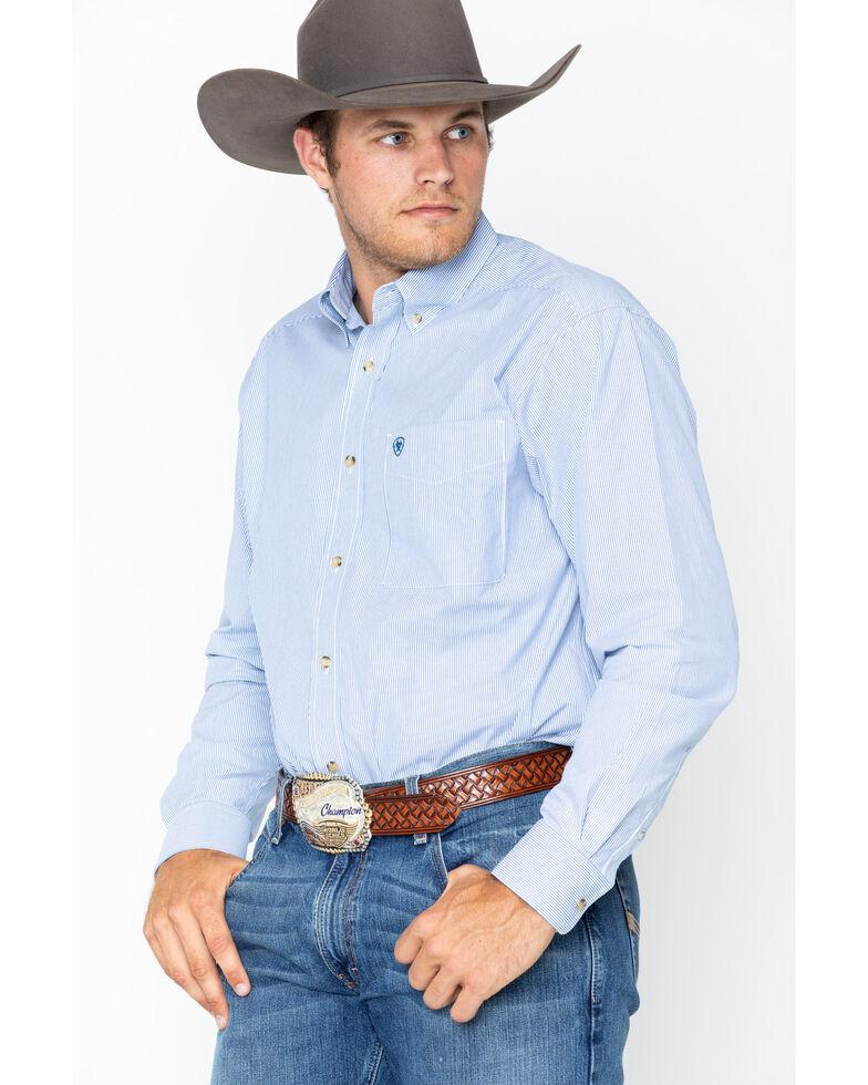 Ariat Men's Dayne Mini Striped Long Sleeve Western Shirt , Blue, hi-res