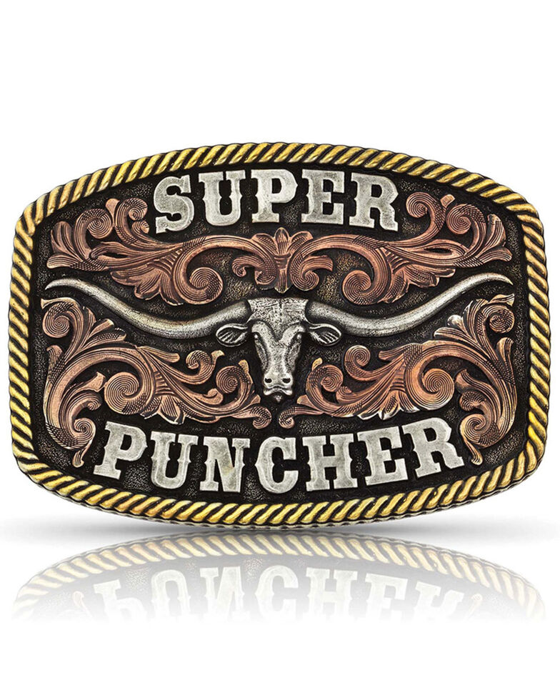 Montana Silversmiths Men's Dale Brisby Super Puncher Longhorn Buckle, Silver, hi-res