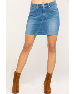 Wrangler Women's Modern Denim High Rise Mini Skirt, Blue, hi-res