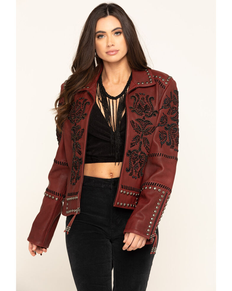 Double D Ranch Women's Oxblood Tasajulillo Jacket , Red, hi-res