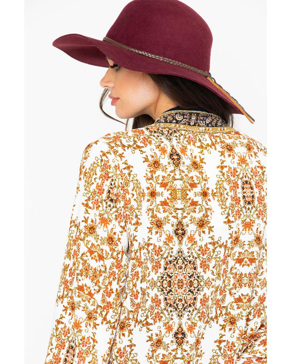 Lunachix Women's Floral Border Print Tie Front Kimono, Ivory, hi-res