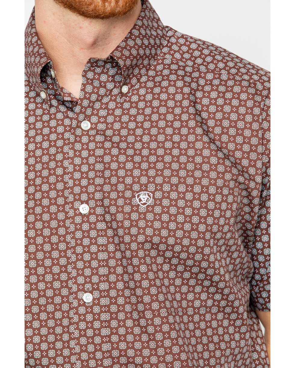 Ariat Men's Brown Nixon Print Short Sleeve Shirt , Brown, hi-res