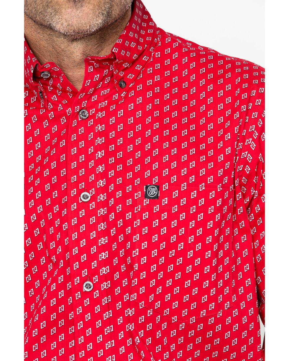 Wrangler Men's Long Sleeve Red Performance Print Shirt , Red, hi-res