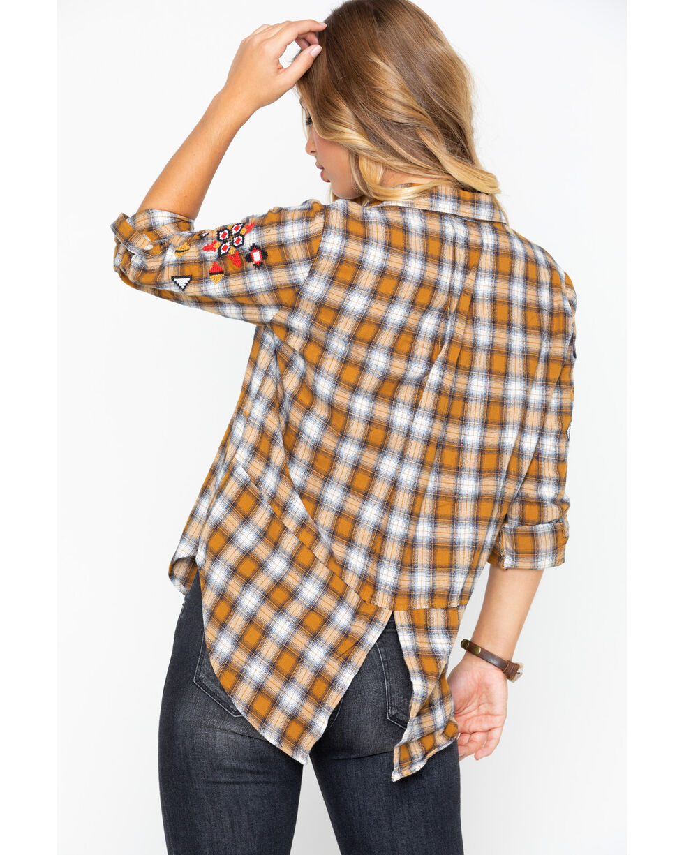 Velvet Heart Women's Plaid Embroidered Sleeve Split Back Shirt , Dark Yellow, hi-res