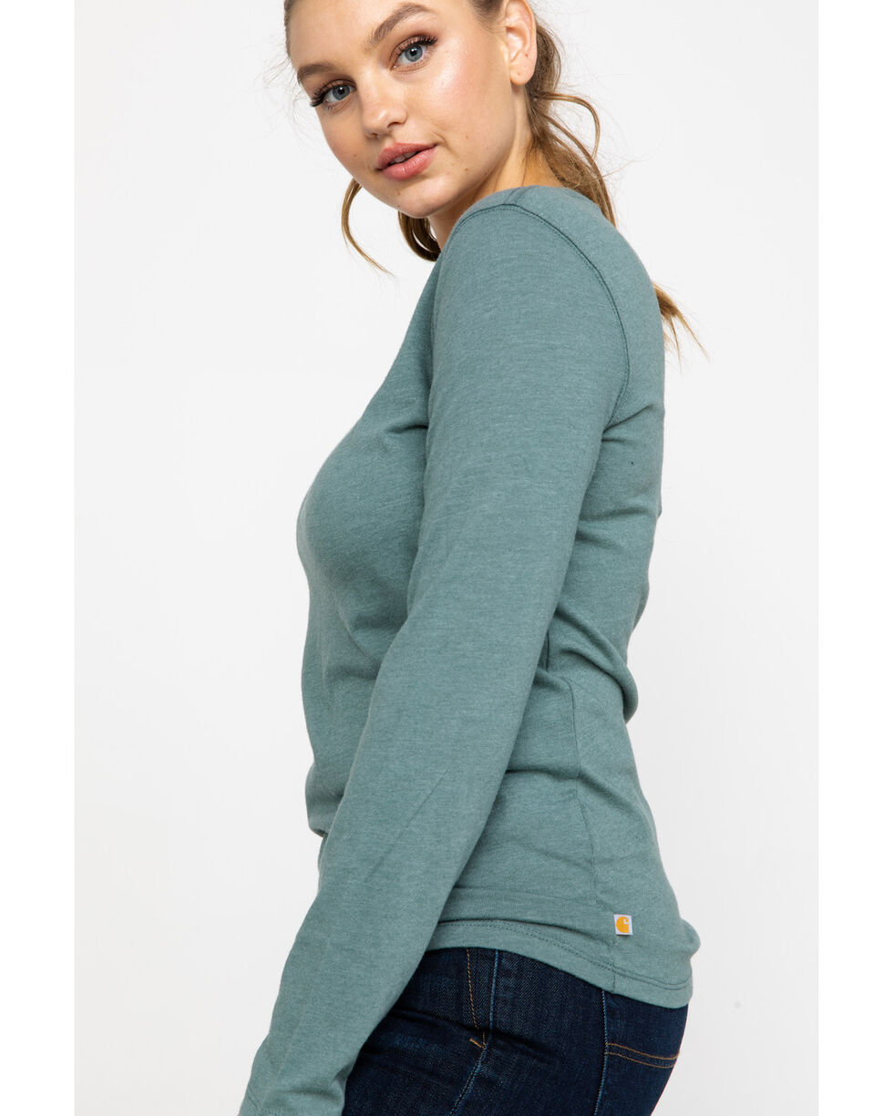 Carhartt Women's Brown Lockhart Long Sleeve V-Neck Shirt , Sage, hi-res