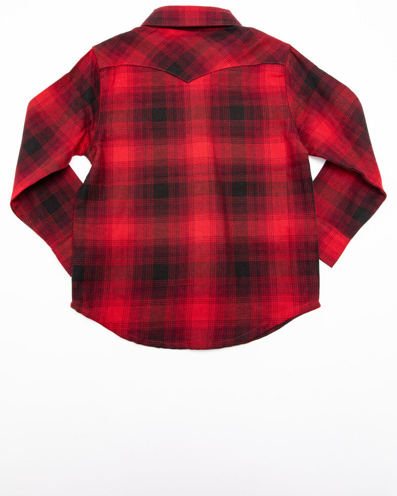 Wrangler Toddler Boys' Multi Plaid Long Sleeve Western Shirt , Red, hi-res