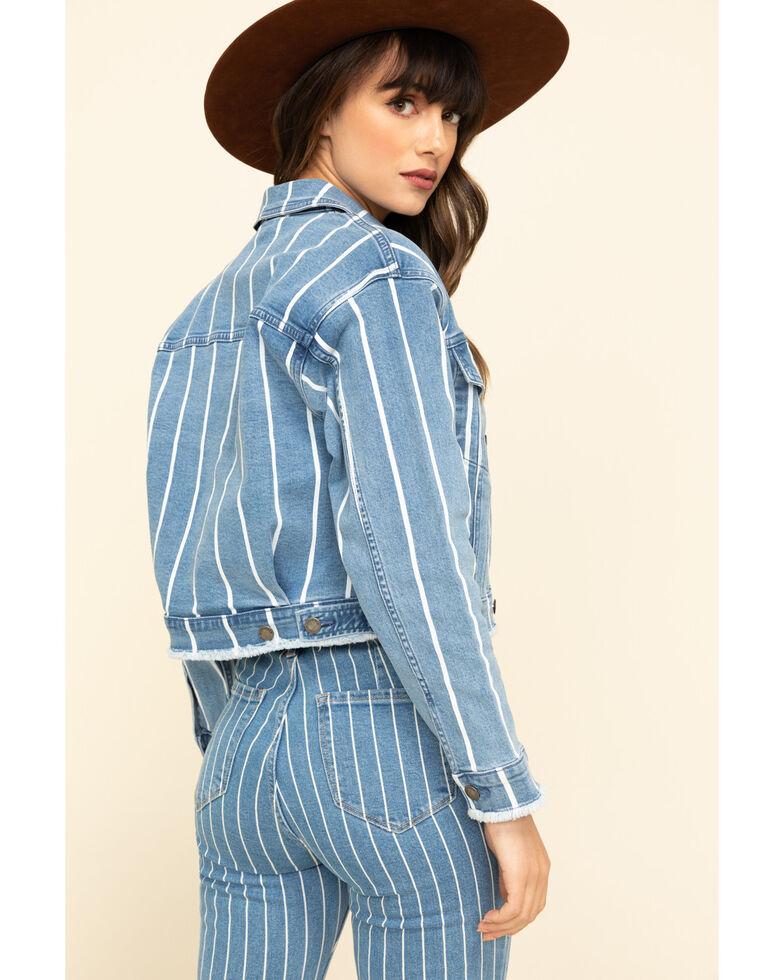 Cello Women's Blue Denim Striped Jacket , Blue, hi-res