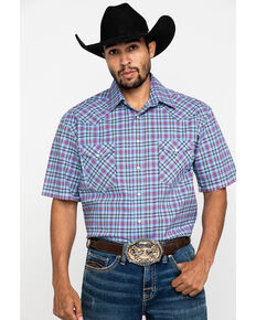 Rough Stock By Panhandle Men's Luge Ombre Plaid Short Sleeve Western Shirt , Light Blue, hi-res