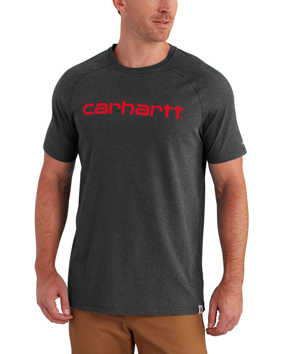 Carhartt Force Men's Cotton Delmont Graphic Short Sleeve Shirt - Big , Charcoal, hi-res