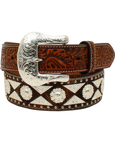 Ariat Men's Leather Diamond Concho Western Belt , Tan, hi-res