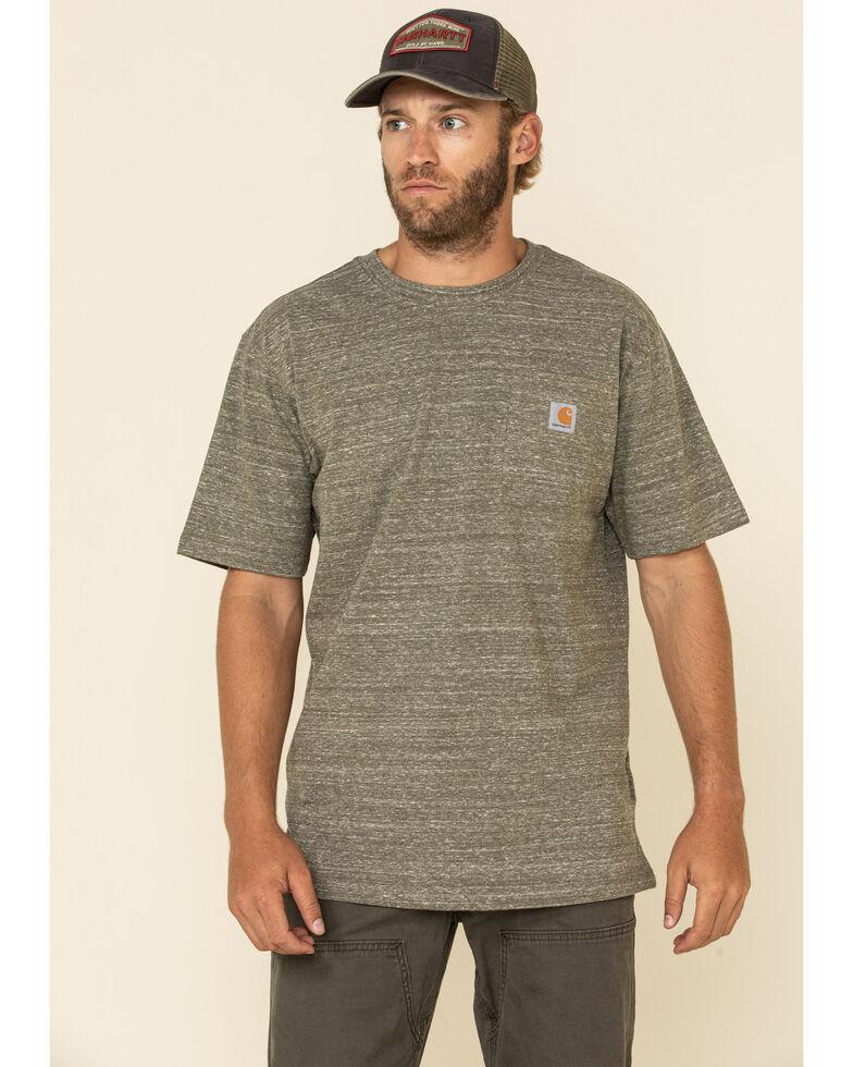 Carhartt Men's Army Green Pocket Short Sleeve Work T-Shirt - Tall , Green, hi-res