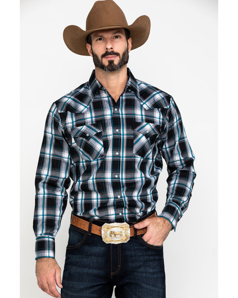 Ely Cattleman Men's Textured Multi Plaid Long Sleeve Western Shirt - Big & Tall , Multi, hi-res
