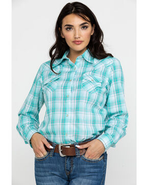 Wrangler Women's Teal Plaid Long Sleeve Western Shirt , Teal, hi-res