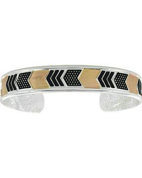 Montana Silversmiths Women's Two Tone Layered Chevrons Cuff Bracelet, No Color, hi-res