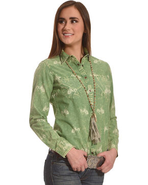 Ryan Michael Women's Meadow Bucking Horse Print Shirt , Light Green, hi-res