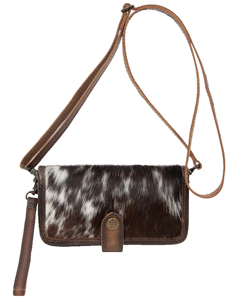 STS Ranchwear Women's Cowhide Crossbody Wallet , Black, hi-res