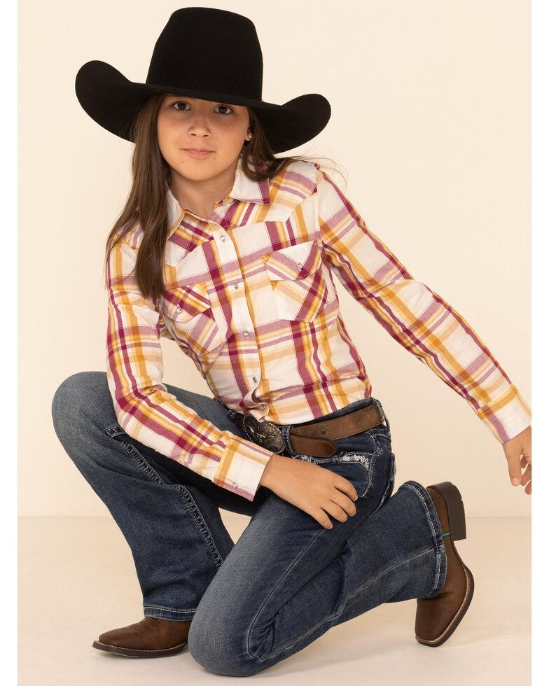 Shyanne Girls' Ivory Plaid Long Sleeve Western Flannel Shirt , Ivory, hi-res