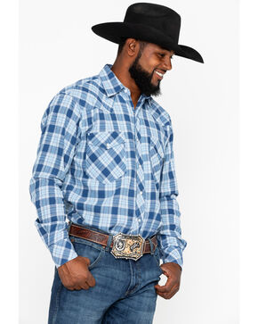 Resistol Apparel Men's Colt Plaid Long Sleeve Western Flannel Shirt , Blue, hi-res