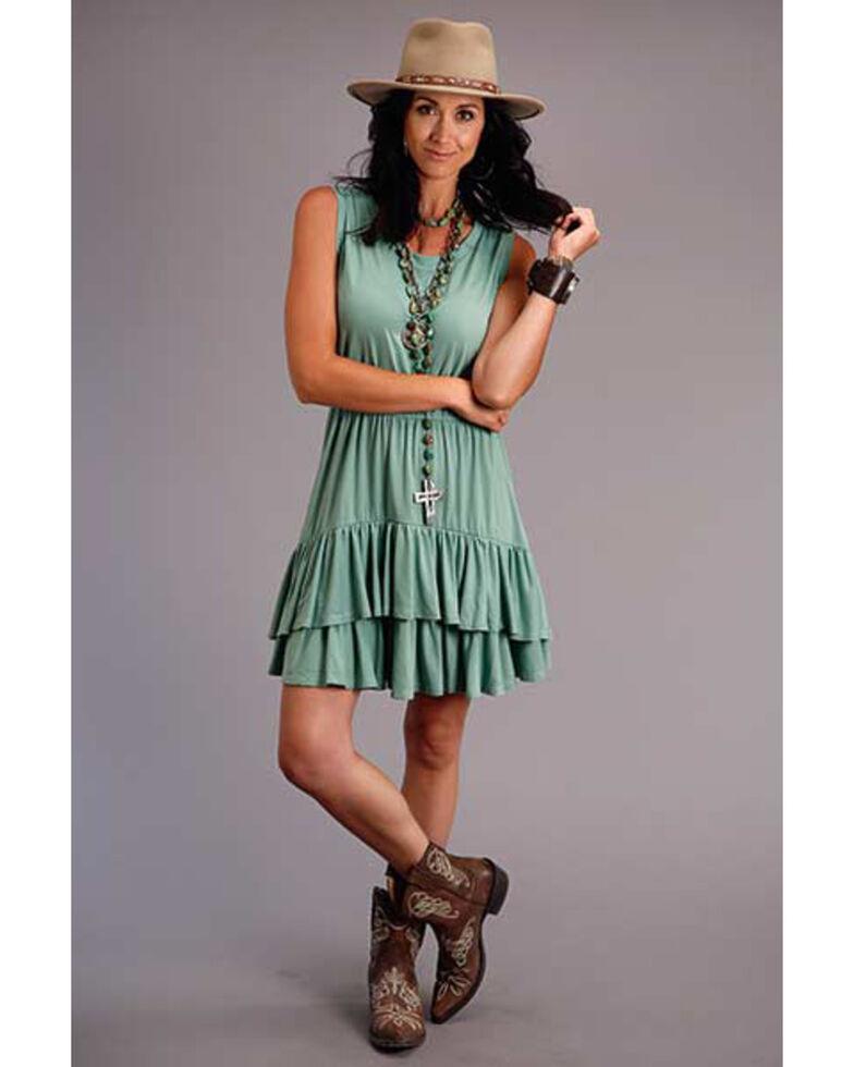 Stetson Women's Sage Ruffled Hem Dress, Green, hi-res