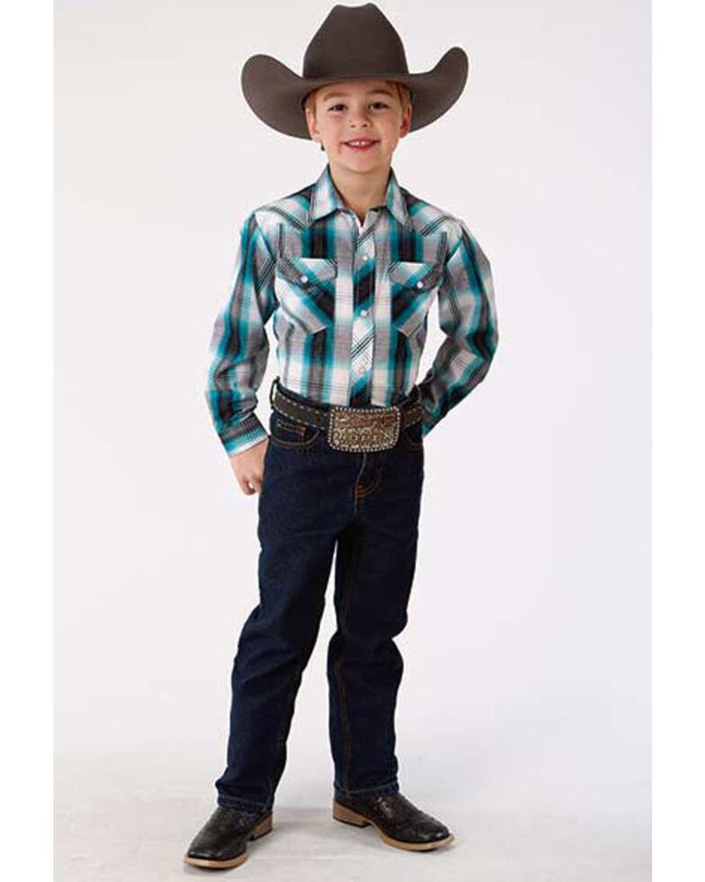 Roper Boys' Multi Plaid Long Sleeve Woven Western Shirt , Blue, hi-res