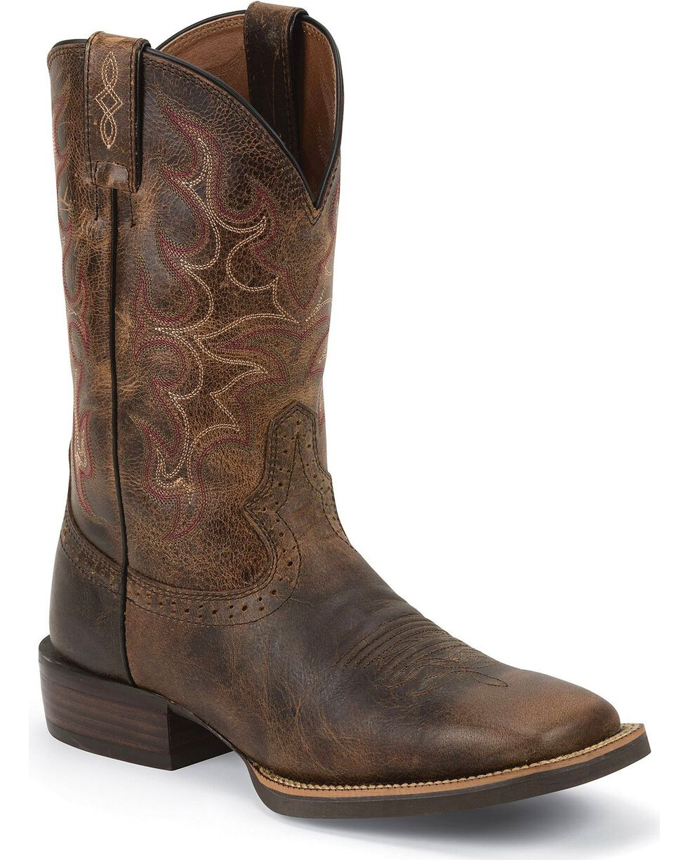Justin Men's Silver Collection Square Toe Western Boots, Antique Brown, hi-res