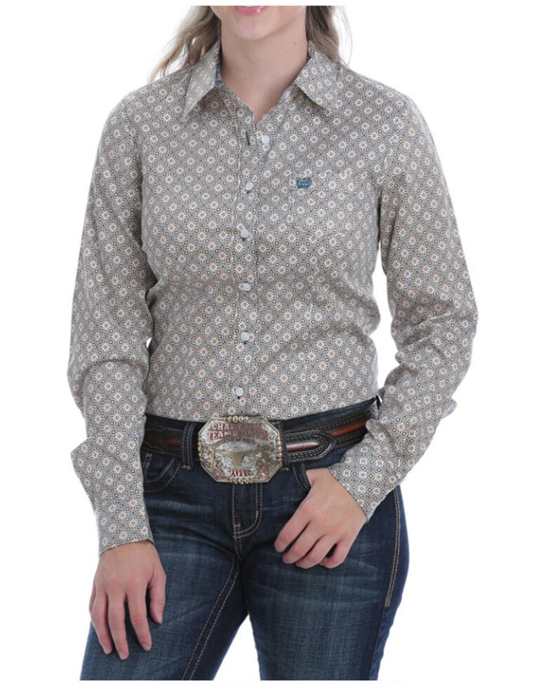 Cinch Women's Blue Tile Print Button Long Sleeve Western Shirt , Blue, hi-res