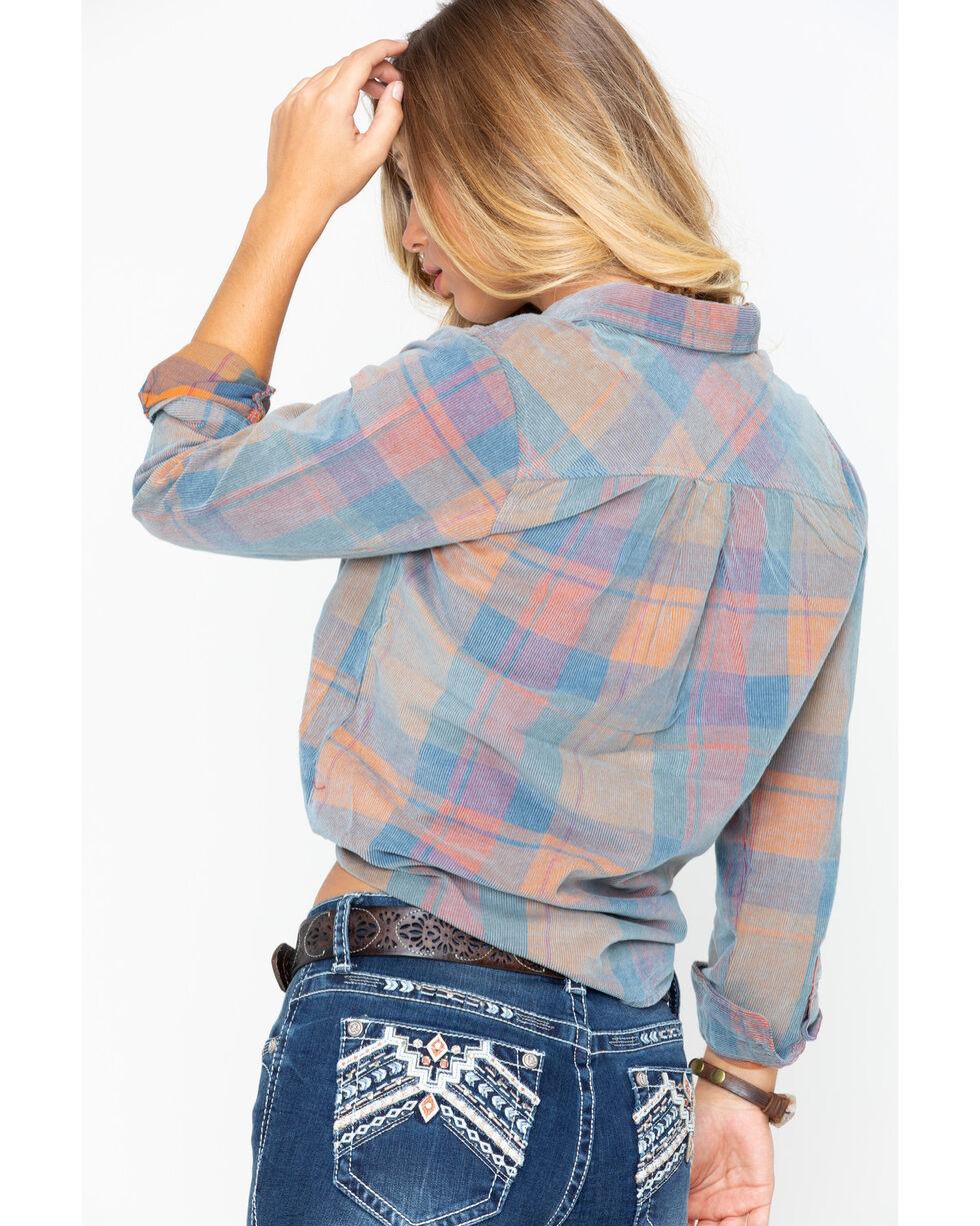 North River Women's Plaid Corduroy Button Down Shirt , Rust Copper, hi-res