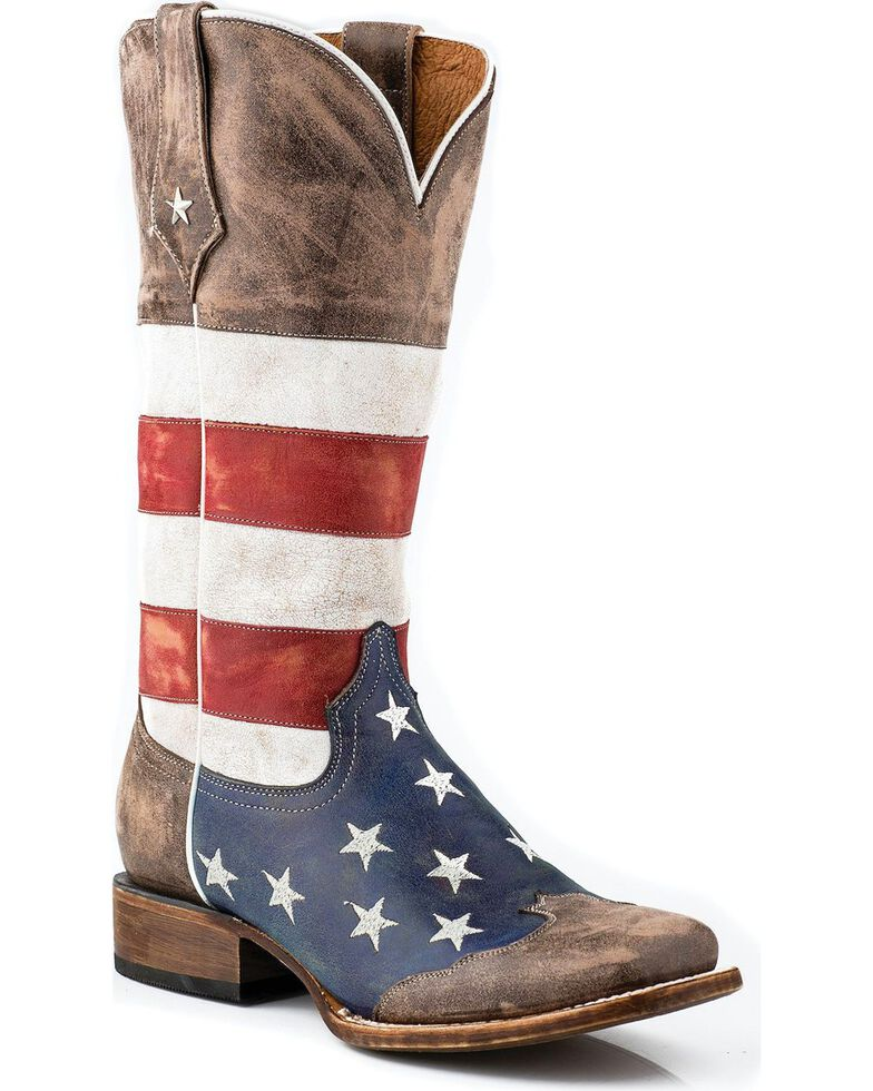 Roper Women's Americana Flag Western Boots, Brown, hi-res